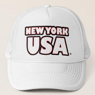 New York USA White Words Trucker Hat