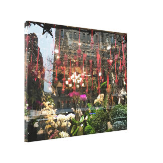 New York Valentine's Day Floral Shop Window Hearts Canvas Print