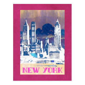New York - Vintage style travel 80's postcard