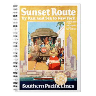 New York Vintage Travel Poster Restored Notebook