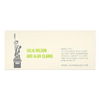 New York Wedding Invitation Green Cream Names