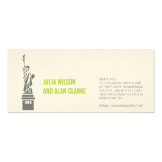 New York Wedding Invitation Green Cream Names