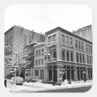 New York Winter - City in the Snow Square Sticker
