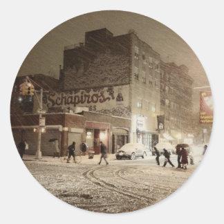 New York Winter - Snow in the City Round Sticker