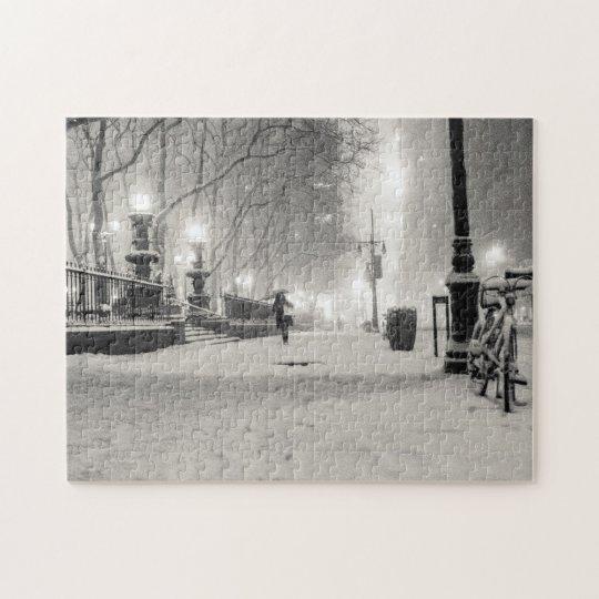 New York Winter - Snowy Night - Bryant Park Jigsaw Puzzle