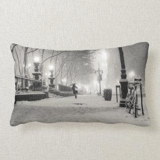 New York Winter - Snowy Night - Bryant Park Lumbar Pillow