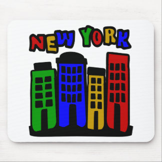 New York With Colorful Brownstones Mouse Pad