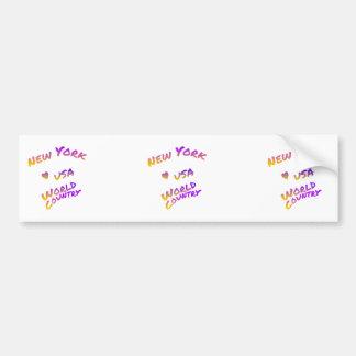New York world city, colorful text art Bumper Sticker