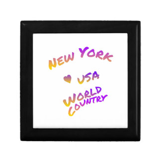 New York world city, colorful text art Gift Box