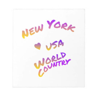 New York world city, colorful text art Notepads