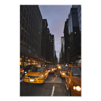 New York yellow taxi cab cityscape photo print