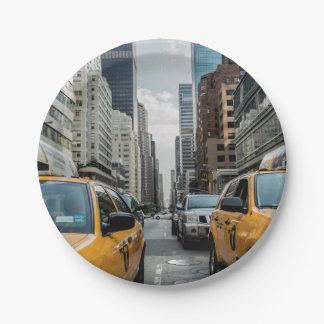 New York Yellow Taxi Cabs Paper Plate