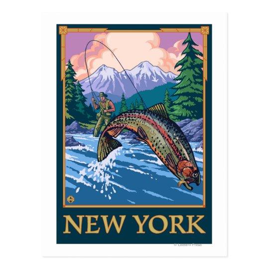 New YorkAngler Fisherman Scene Postcard