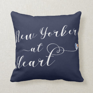 New Yorker At Heart Throw Cushion, NYC Throw Pillow