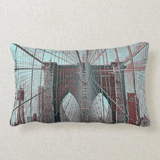 New York's Brooklyn Bridge and Freedom Tower Lumbar Pillow