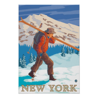 New YorkSkier Carrying Skis Poster
