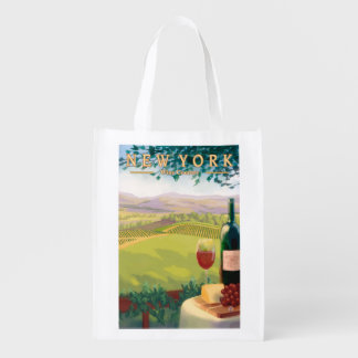 New YorkWine Country Scene Reusable Grocery Bag