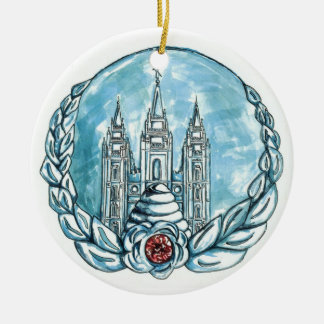 new young womens medallion round ceramic ornament