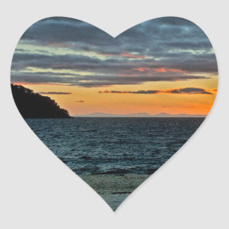 New Zealand Abel Tasman Sunset Heart Sticker