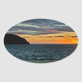 New Zealand Abel Tasman Sunset Oval Sticker