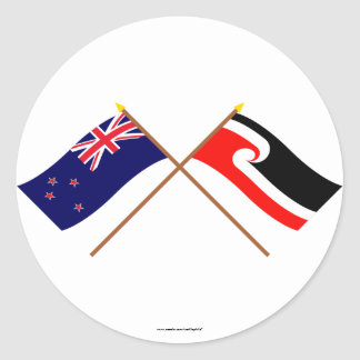 New Zealand and Maori People Crossed Flags Round Sticker