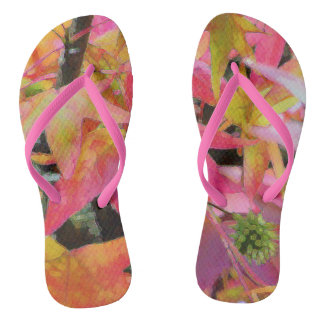 NEW ZEALAND BATIK: ROSE AND GOLD LEAVES FLIP FLOPS