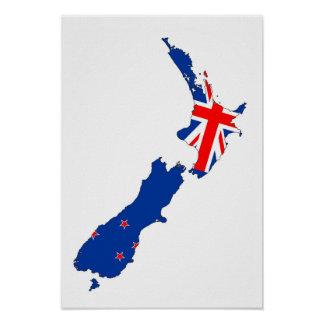 new zealand country flag map shape symbol poster