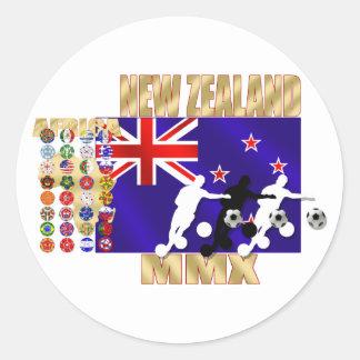 New Zealand Flag 32 qualifying countries Round Sticker