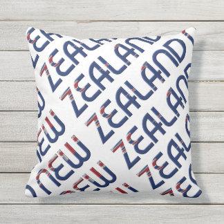 New Zealand Flag Colors Typography Souvenir Throw Pillow