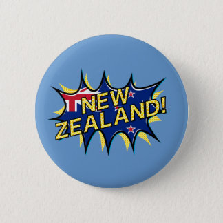 New Zealand flag comic style kapow star 2 Inch Round Button