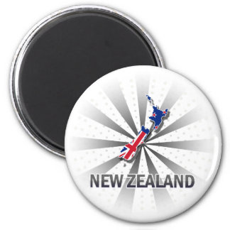 New Zealand Flag Map 2.0 Magnet