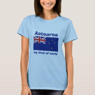 New Zealand Flag + Map + Text T-Shirt