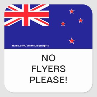 New Zealand Flag No Flyers Please Mail Box sticker