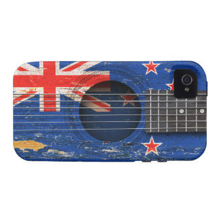 New Zealand Flag on Old Acoustic Guitar iPhone 4/4S Case