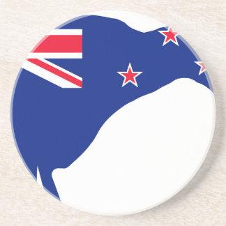 New Zealand Flag With Kiwi SIlhouette Coaster