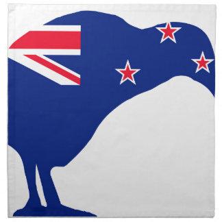 New Zealand Flag With Kiwi SIlhouette Napkin