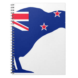 New Zealand Flag With Kiwi SIlhouette Notebook