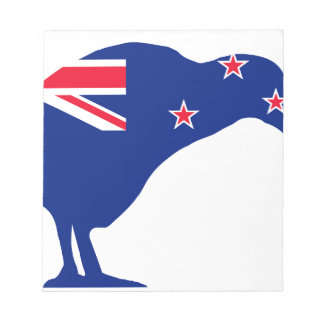 New Zealand Flag With Kiwi SIlhouette Notepad