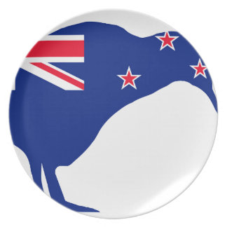 New Zealand Flag With Kiwi SIlhouette Plate