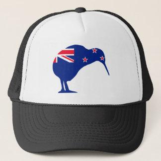 New Zealand Flag With Kiwi SIlhouette Trucker Hat