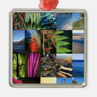 New Zealand flora scenic beauty Silver-Colored Square Ornament