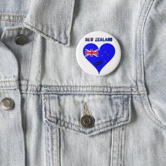 New Zealand heart flag 2 Inch Round Button