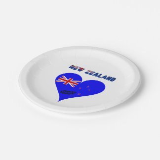 New Zealand heart flag Paper Plate