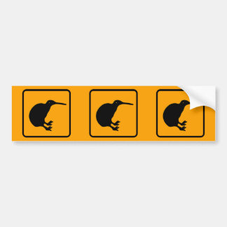 New Zealand Kiwi Icon Yellow Diamond Warning Sign Bumper Sticker