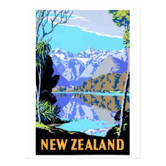 New Zealand Lake Matheson Vintage Travel Poster Postcard