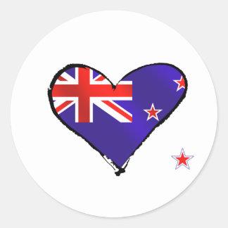 New Zealand love heart flag gifts Round Sticker