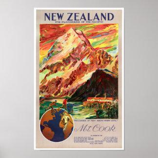 New Zealand Mt. Cook Vintage Travel Poster
