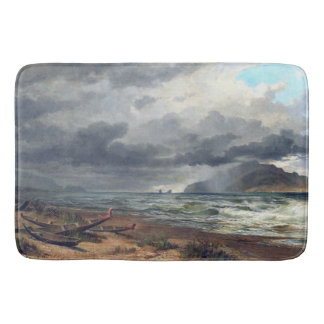 New Zealand Ocean Beach Waves Boats Bath Mat