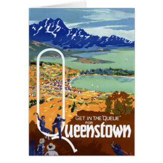 New Zealand Queenstown Vintage Travel Poster Card