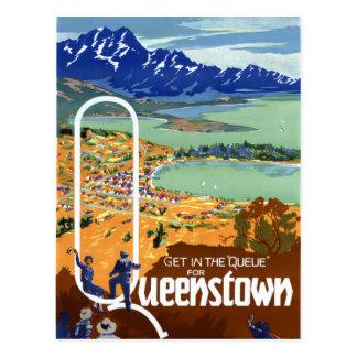New Zealand Queenstown Vintage Travel Poster Postcard